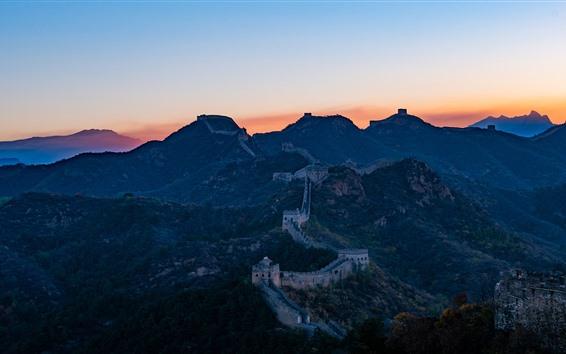 Wallpaper Great Wall, mountains, sunset, China