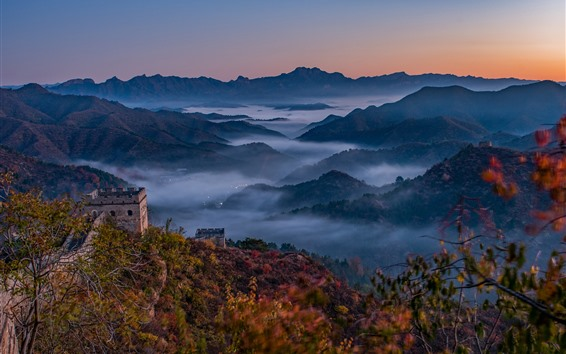 Wallpaper Great Wall, mountains, top view, fog, China