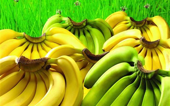 Wallpaper Green and yellow bananas, fruit