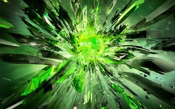 Wallpaper Green crystals, explosion