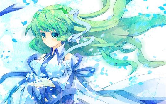 Fondos de pantalla Chica anime pelo verde, serpiente, viento