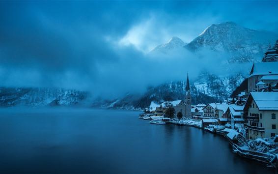 Papéis de Parede Hallstatt, Áustria, inverno, neve, lago, montanhas, névoa, vila bonita