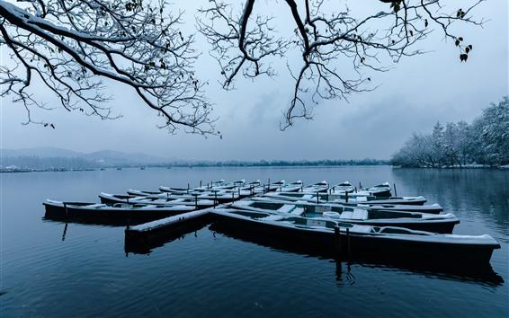 Fondos de pantalla Hangzhou, hermoso invierno, barcos, ramitas, nieve, lago, parque, China