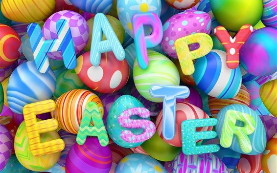Wallpaper Happy Easter, colorful eggs, 3D design