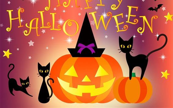 Fond d'écran Happy Halloween, chat, chauve-souris, citrouille, photo d'art