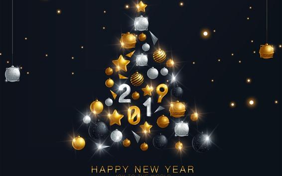 Fondos de pantalla Feliz año nuevo 2019, árbol de navidad, decoración.