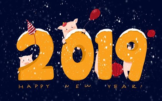Fondos de pantalla Feliz año nuevo 2019, año del cerdo, imagen artística