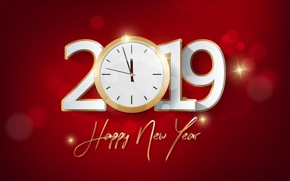 Fondos de pantalla Feliz año nuevo 2019, reloj, fondo rojo