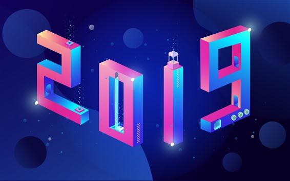 Fondos de pantalla Feliz año nuevo 2019, diseño creativo, numerica colorido.