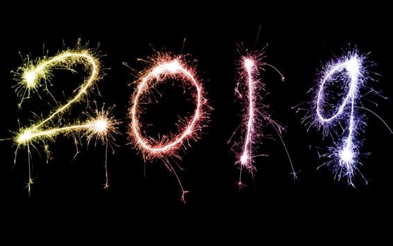 Fondos de pantalla Feliz año nuevo 2019, fuegos artificiales, chispas.