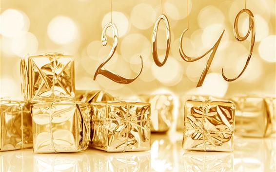 Обои С новым годом 2019, золотой стиль, подарки