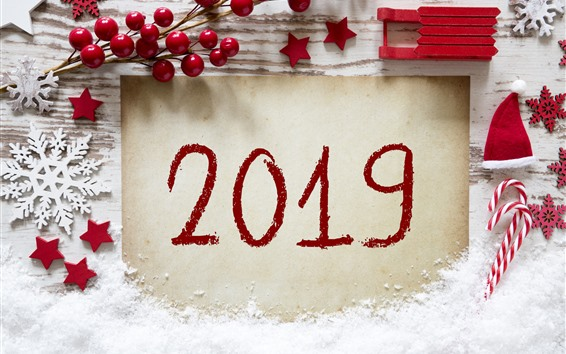 Wallpaper Happy New Year 2019, red style, candy, snowflakes, berries