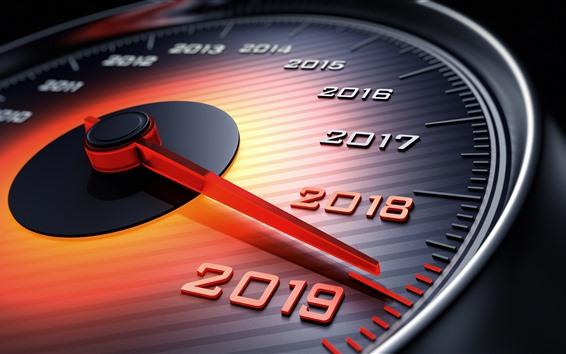 Wallpaper Happy New Year 2019, speedometer, arrow