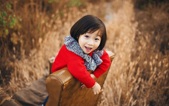 Wallpaper Happy little girl, short hair, child