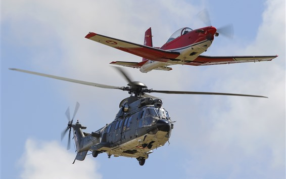 Wallpaper Helicopter and airplane