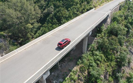 Fondos de pantalla Carretera, carretera, coche rojo, vista superior