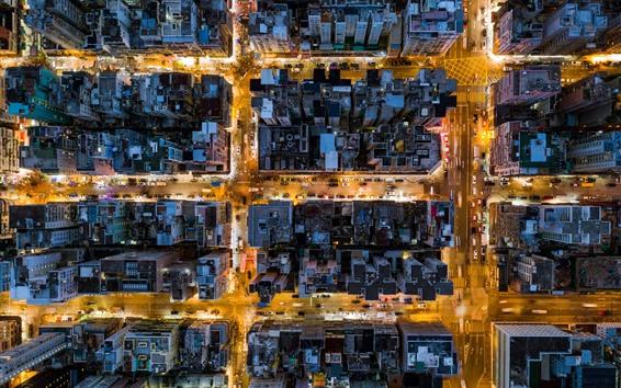 Wallpaper Hong Kong, city top view, buildings, street, night, lights