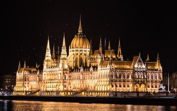 Fond d'écran Hongrie, Budapest, chambre du Parlement, lumières, rivière, nuit