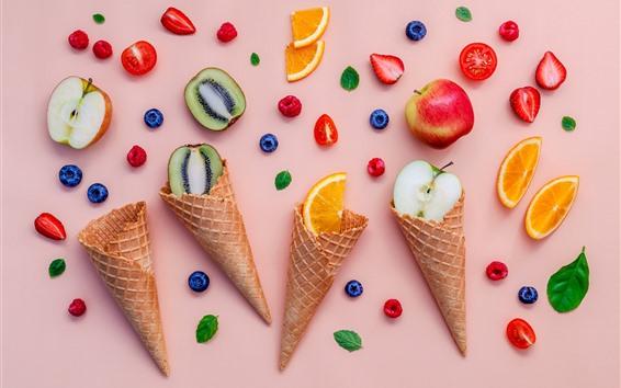 Wallpaper Ice cream cone, fruit slice, kiwi, orange, apple, strawberry, blueberry