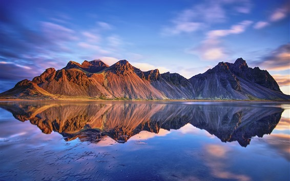 Wallpaper Iceland, Vestrahorn mountains, sea, water reflection, clouds