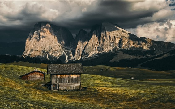 Wallpaper Italy, Alpe di Siusi, South-Tyrol, mountains, wood houses, clouds