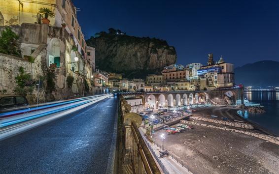 Fondos de pantalla Italia, Atrani, Costa Amalfitana, ciudad, carretera, casas, noche, luces