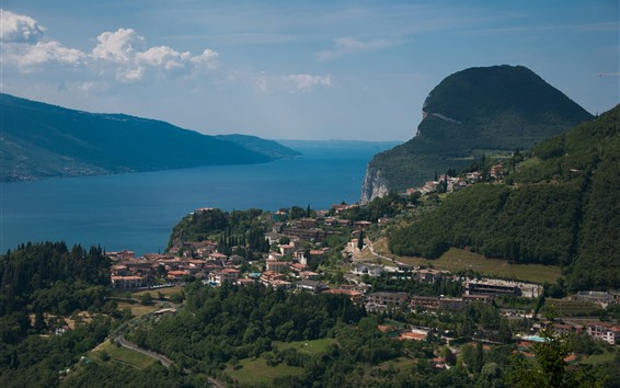 Wallpaper Italy, Garda, lake, mountains, city, clouds