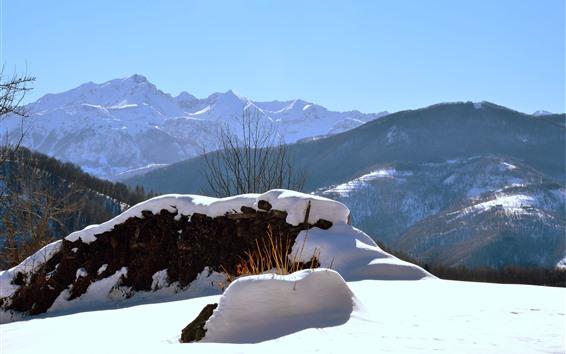 Fond d'écran Italie, Piémont, neige, hiver, montagnes