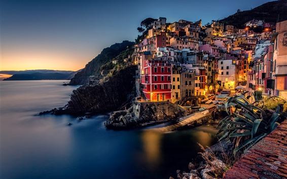 Papéis de Parede Itália, riomaggiore, cinque terre, Ligurian, mar, casas, costa, mar