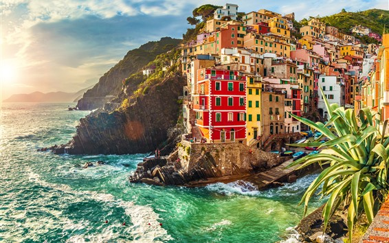 Wallpaper Italy, Riomaggiore, houses, sea, waves, sunset