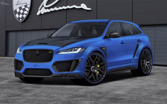 Wallpaper Jaguar F-Pace CLR F blue car