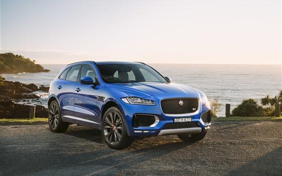 Обои Jaguar F-Pace синий внедорожник