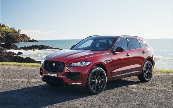 Wallpaper Jaguar F-Pace red SUV car