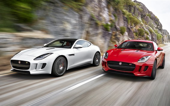 Wallpaper Jaguar red and white cars, speed
