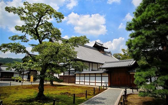 Fondos de pantalla Japón, Kyoto, Nagoya, casas, árboles