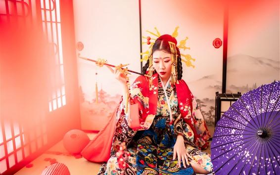 Wallpaper Japanese girl, kimono, smoke, umbrella, room