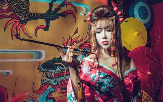Wallpaper Japanese girl, kimono, smoke, umbrella