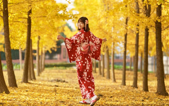 Wallpaper Japanese girl look back, smile, red kimono, trees, yellow leaves, autumn