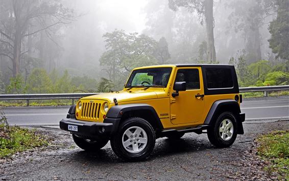 Papéis de Parede Jeep Wrangler carro amarelo