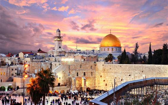 Wallpaper Jerusalem, Israel, city, buildings, church, street, people, night