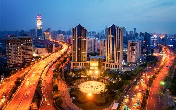 Fondos de pantalla Jinan, Shandong, ciudad, noche, edificios, luces, carreteras
