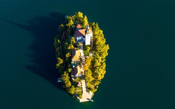 Wallpaper Lake Bled, island, church, top view, Slovenia