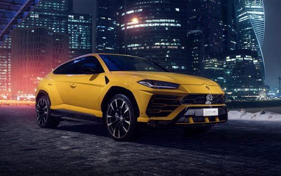 Wallpaper Lamborghini 2018 yellow SUV car