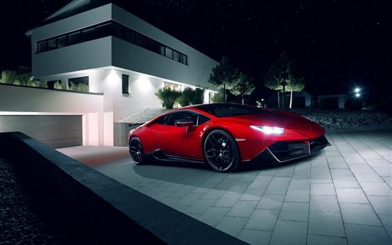 Fondos de pantalla Lamborghini HURACAN Supercar rojo, noche, luces