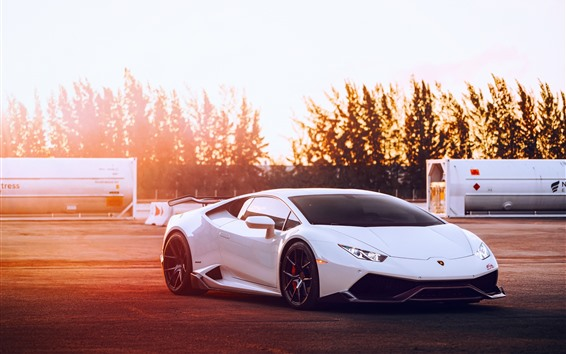 Wallpaper Lamborghini Huracan white supercar, sunset, glare