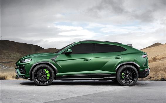 Papéis de Parede Vista lateral do carro Lamborghini Urus 2018 verde SUV
