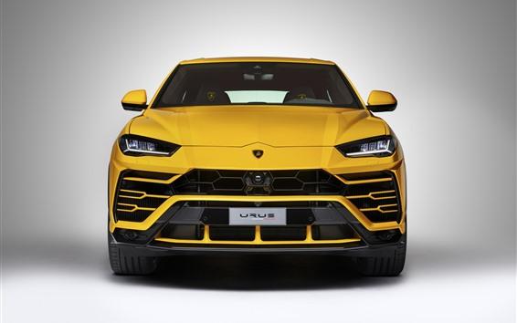 壁紙 ランボルギーニウルス黄色SUVスーパーカーフロントビュー、ヘッドライト