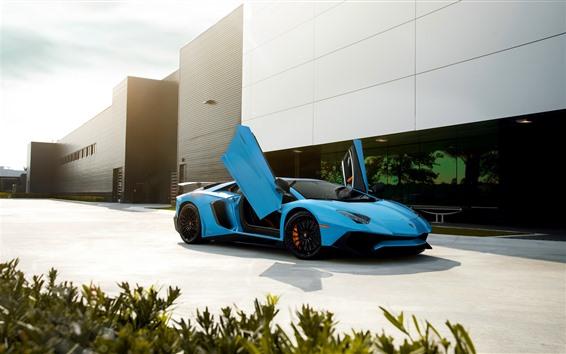 Wallpaper Lamborghini blue supercar, doors opened