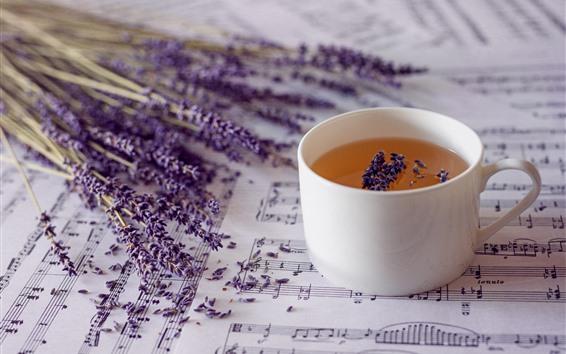 Wallpaper Lavender, tea, music score