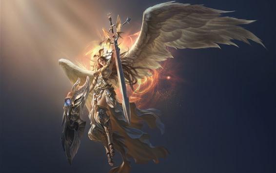 Fondos de pantalla Liga de los Ángeles, hermoso ángel, alas, espada